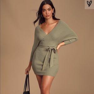 Lulus Sage Dolman Sleeve Bodycon Sweater Dress